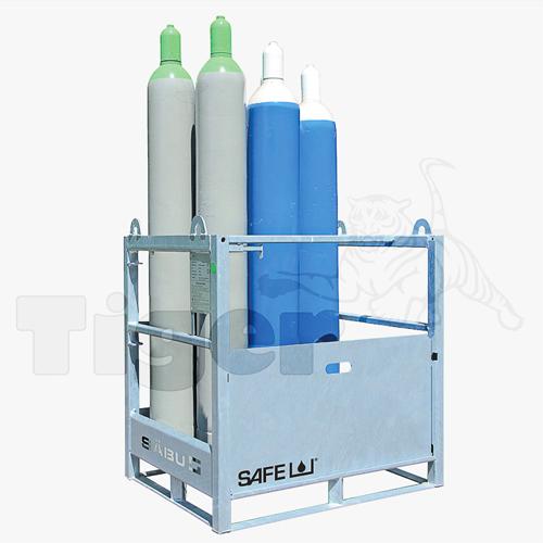 Gasflaschenpalette mit Auffahrrampe