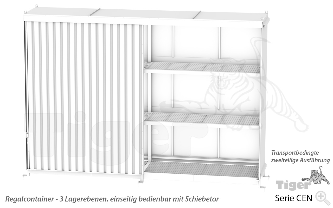 Regalcontainer mit Schiebetor